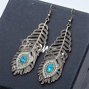 Large Peacock Feather Dangle Earrings Rhinestones